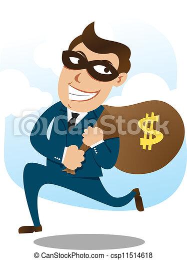 man wearing suit stealing money - csp11514618