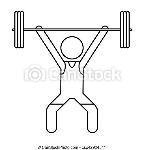 man weight lifter sport athlete outline - csp42924541