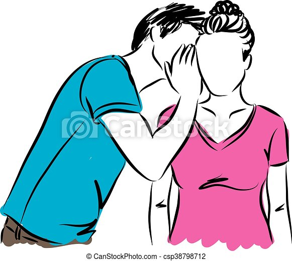 man whispering woman illustration vector clip art search rh canstockphoto com man and woman clipart black and white men and women clipart