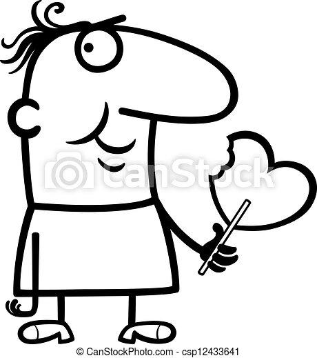 man wit valentine hearth lollipop cartoon black and white cartoon