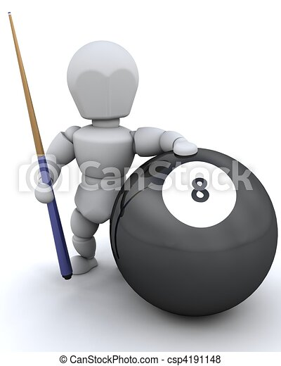 3d Render Of A Man With 8 Ball And Pool Cue