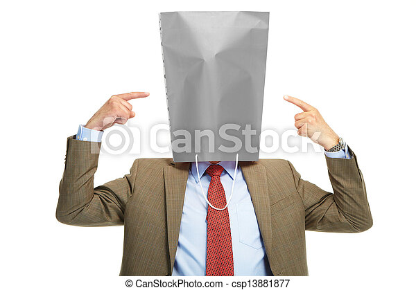 Man with a box on a head - csp13881877