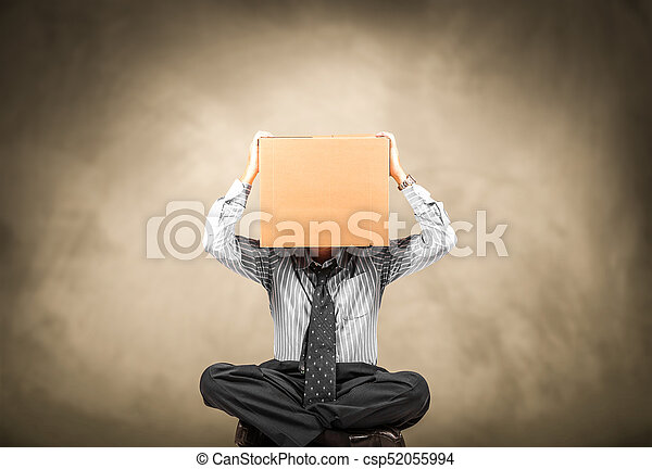 man with a carton box on the head - csp52055994