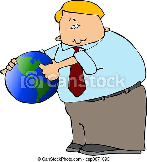 Man With A Globe - csp0671093