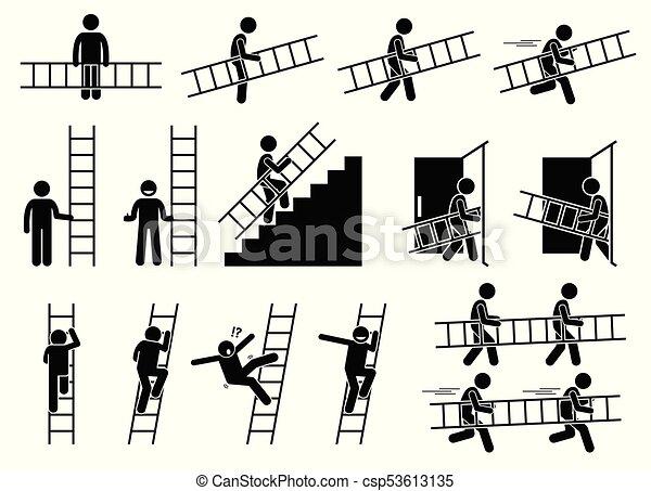 Man with a ladder. - csp53613135