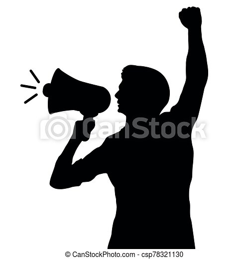 Man with a loudspeaker. Silhouette vector illustration - csp78321130