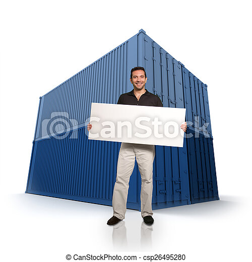 Man with a message and cargo containers - csp26495280