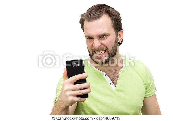 man with a phone on a white background - csp44669713