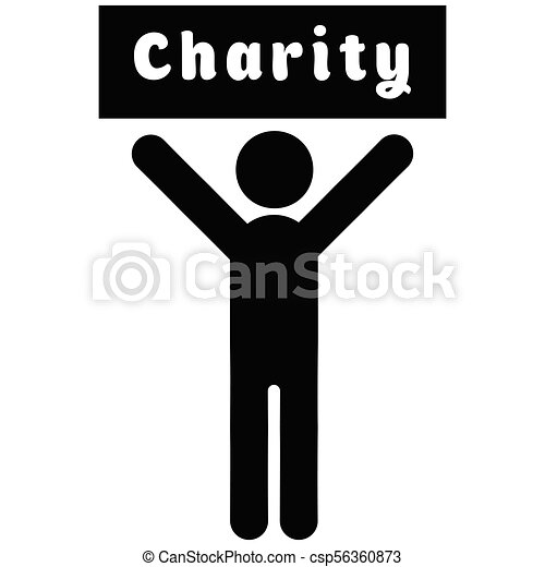 Man with a poster charity - csp56360873