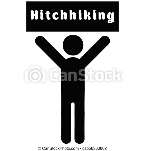 Man with a poster hitchhiking - csp56360862