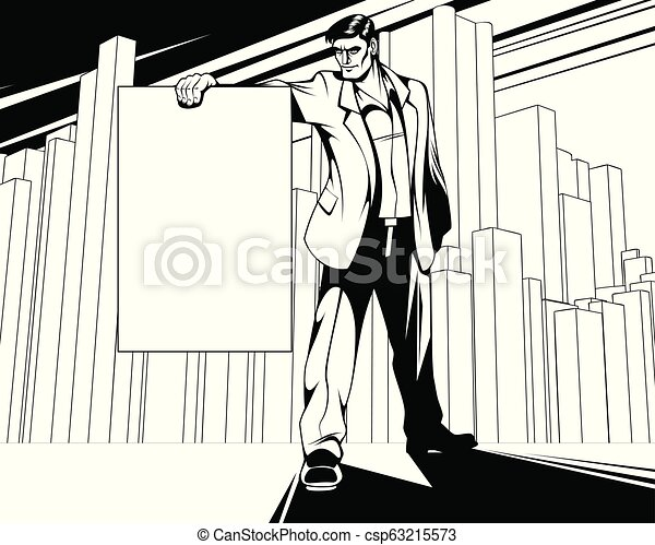 Man with a poster - csp63215573