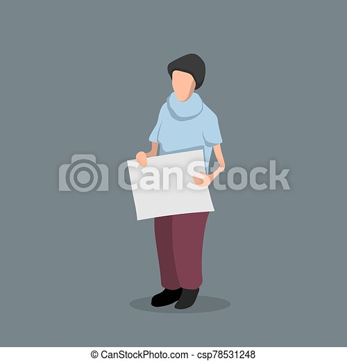 Man with a poster in his hands. Political Event. Protest. Isolated image of a man with banner - csp78531248