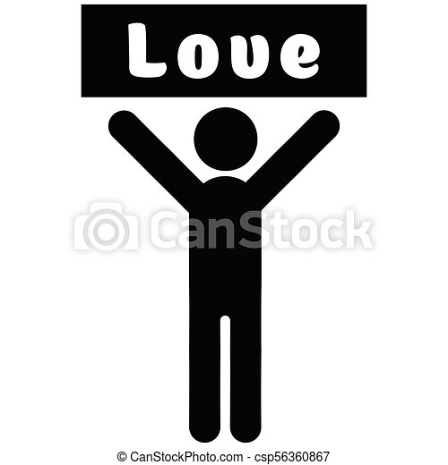 Man with a poster love - csp56360867