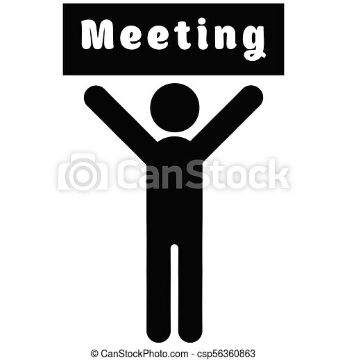 Man with a poster meeting - csp56360863