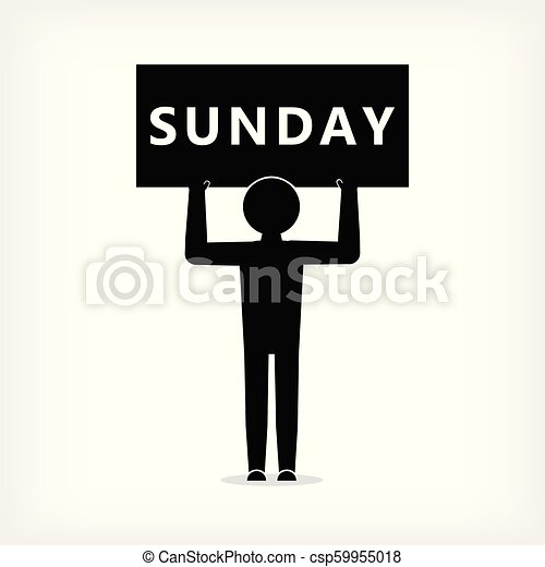 Man with a poster with the inscription Sunday - csp59955018