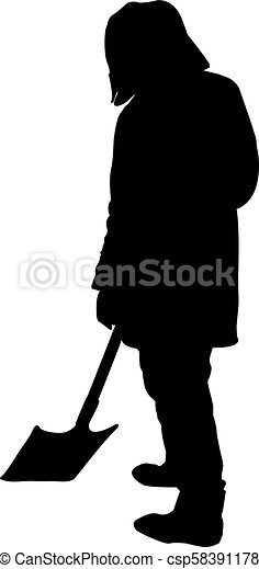 man with a shovel silhouette isolated on white background vector illustration - csp58391178