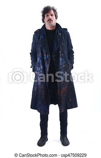 Man with a smeared coat on white background - csp47509229