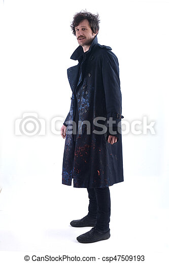 Man with a smeared coat on white background - csp47509193
