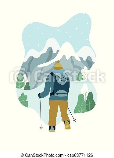 Hiking man vector drawing   Free SVG