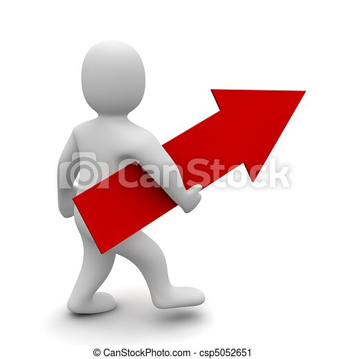 Man with big red up pointing arrow . 3d rendered illustration. - csp5052651