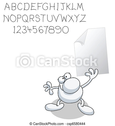 Man with blank paper - csp6580444