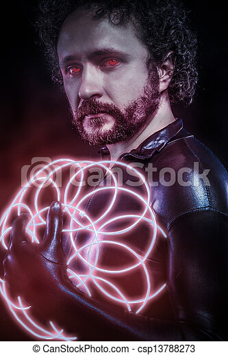 Man with blue neon lights, the future warrior costume, fantasy soldier, red neon - csp13788273