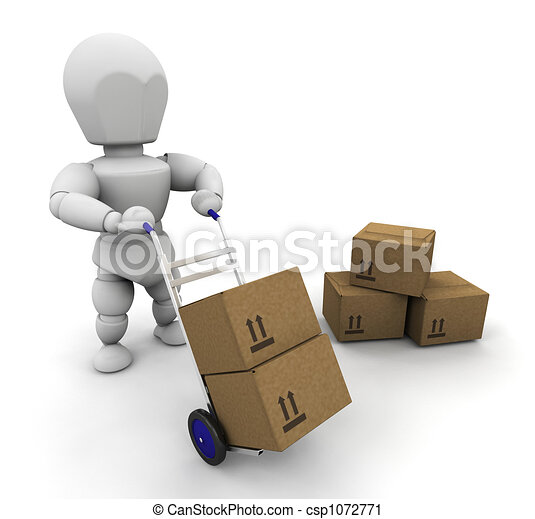 Man with boxes - csp1072771