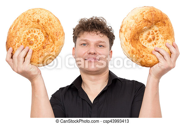 man with bread on a white background - csp43993413