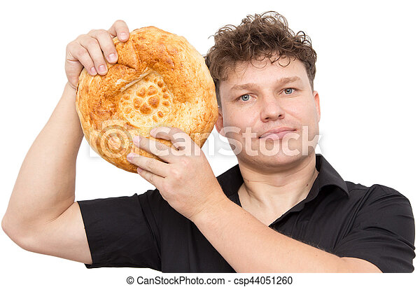 man with bread on a white background - csp44051260