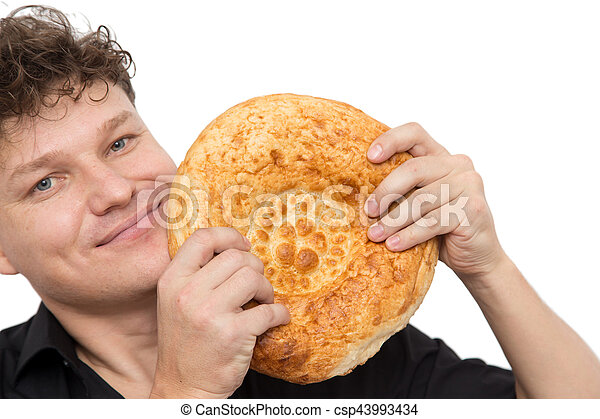 man with bread on a white background - csp43993434