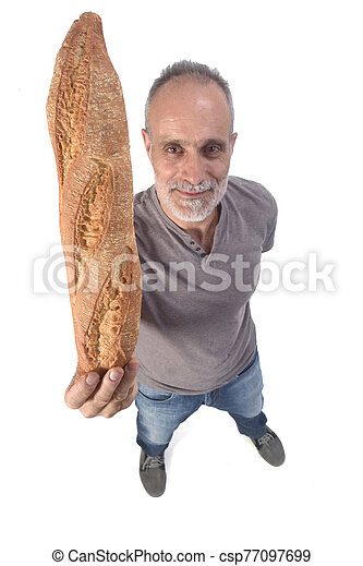 man with Bread on white background - csp77097699