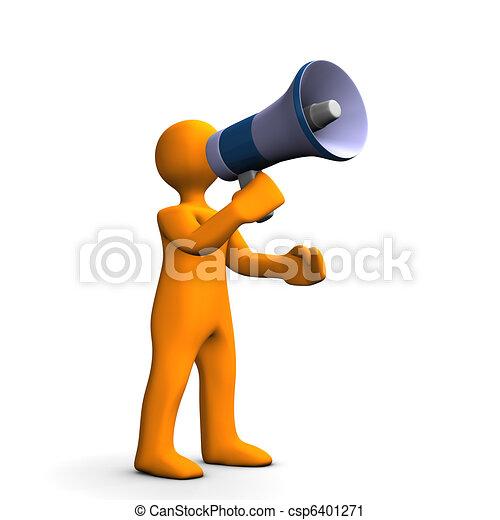 Man with bullhorn orange cartoon talking into a megaphone bullhorn man with bullhorn csp6401271 publicscrutiny Gallery