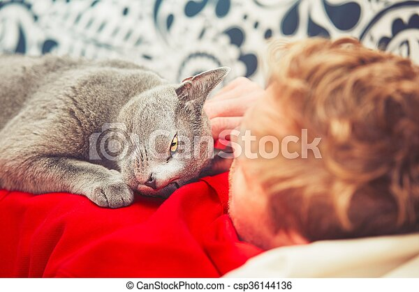 Man with cat - csp36144136