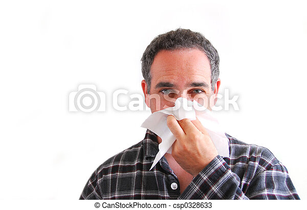 Man with cold blowing nose - csp0328633