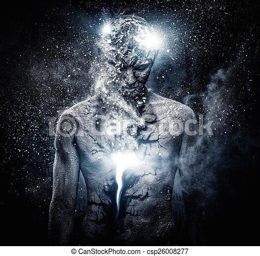 Man with conceptual spiritual body art - csp26008277
