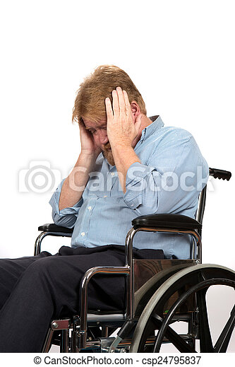 Man With Depression In Wheelchair - csp24795837
