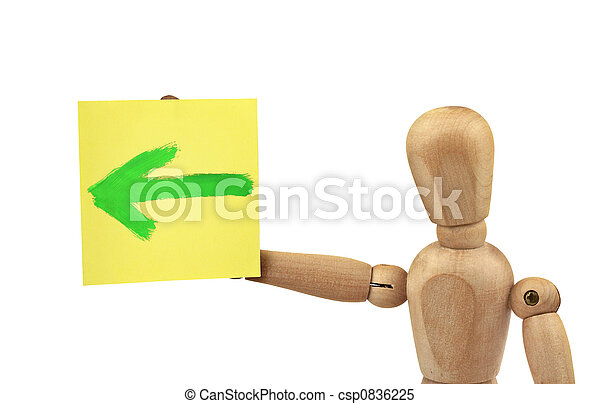 man with direction sign - csp0836225