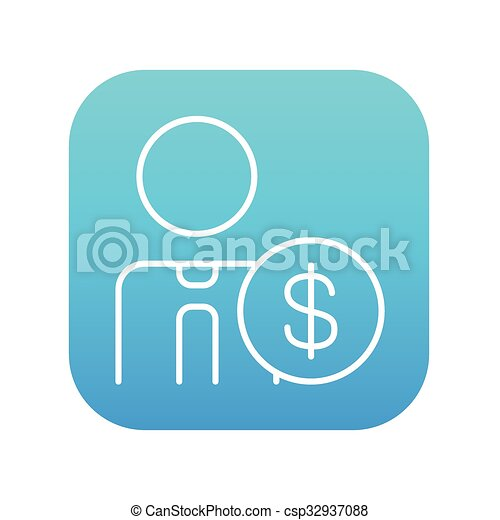 Man with dollar sign line icon. - csp32937088