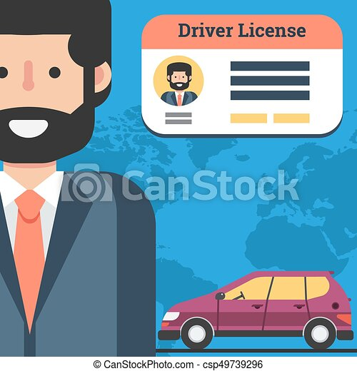 Man with driver license and car - csp49739296