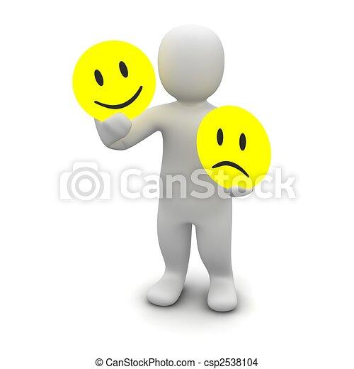 Man with emotions symbols. 3d rendered illustration. - csp2538104