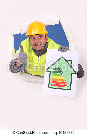 Man with energy rating - csp10455772