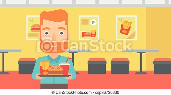 Man with fast food. - csp36730330