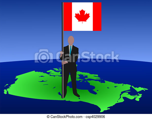 man with flag of Canada - csp4029906