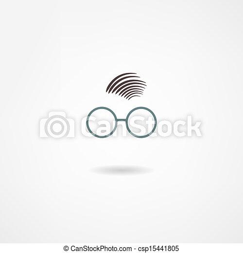 man with glasses icon - csp15441805
