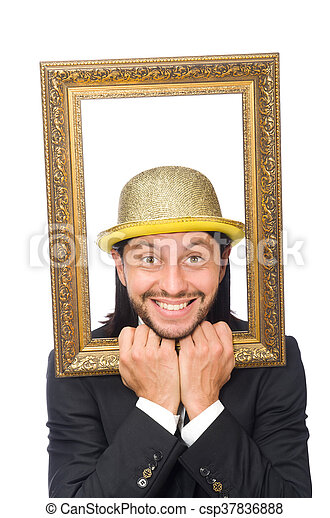 Man with golden hat isolated on white - csp37836888