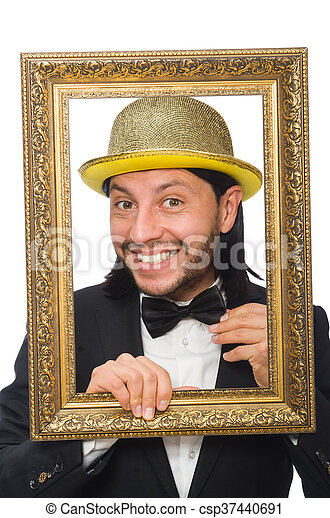 Man with golden hat isolated on white - csp37440691
