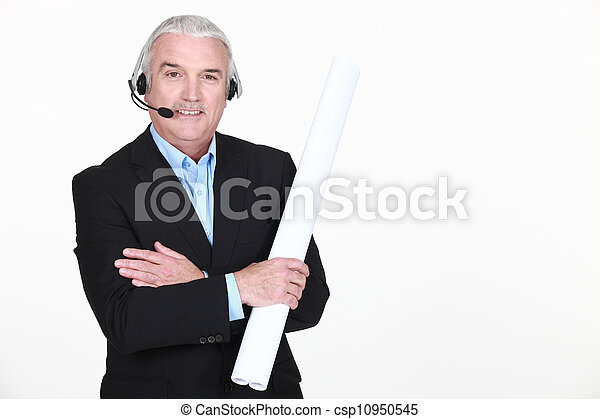 Man with headphones and microphone - csp10950545