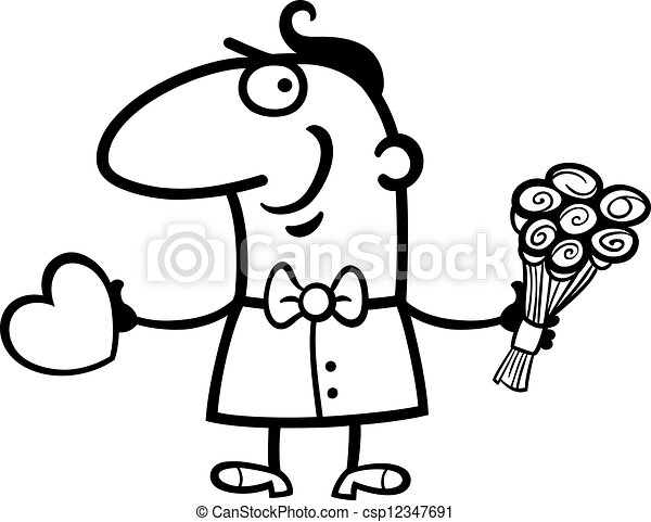 Man with heart and flowers cartoon black and white cartoon st man with heart and flowers cartoon csp12347691 mightylinksfo