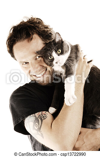 man with his beloved cat - csp13722990