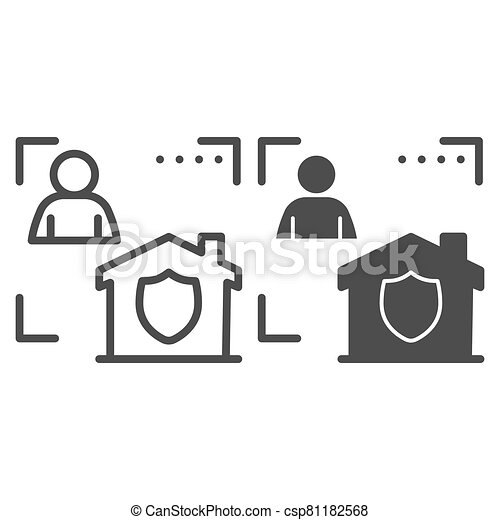 Man with house in frame and security emblem line and solid icon, smart home symbol, identity autorization vector sign white background, person recognition process icon outline style. Vector graphics. - csp81182568